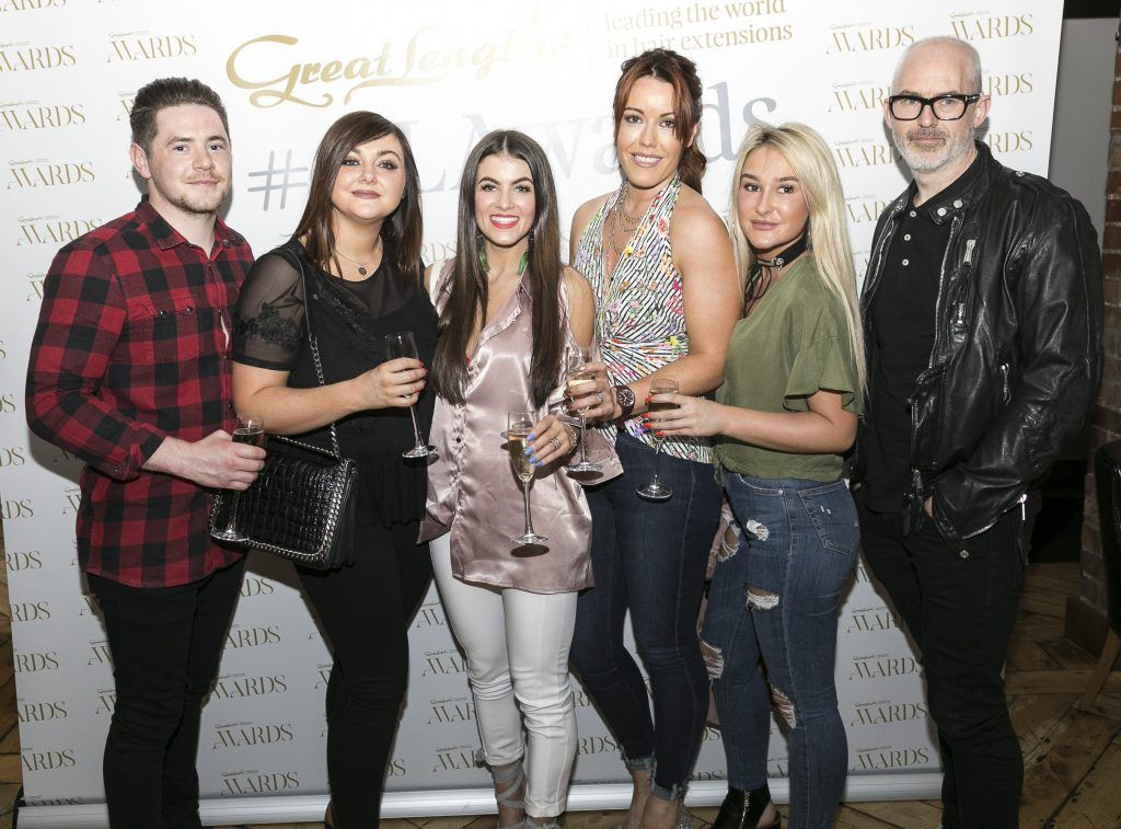 Hession Hairdressing- Darrell Cadwell, Kelly Hart, Kate Crowley, Laura Francis, Kayleigh Mac Namara, Paul Hession at the Great Lengths Awards 2017, held in Fade Street Social, Dublin. May 2017. Photographer - Paul Sherwood