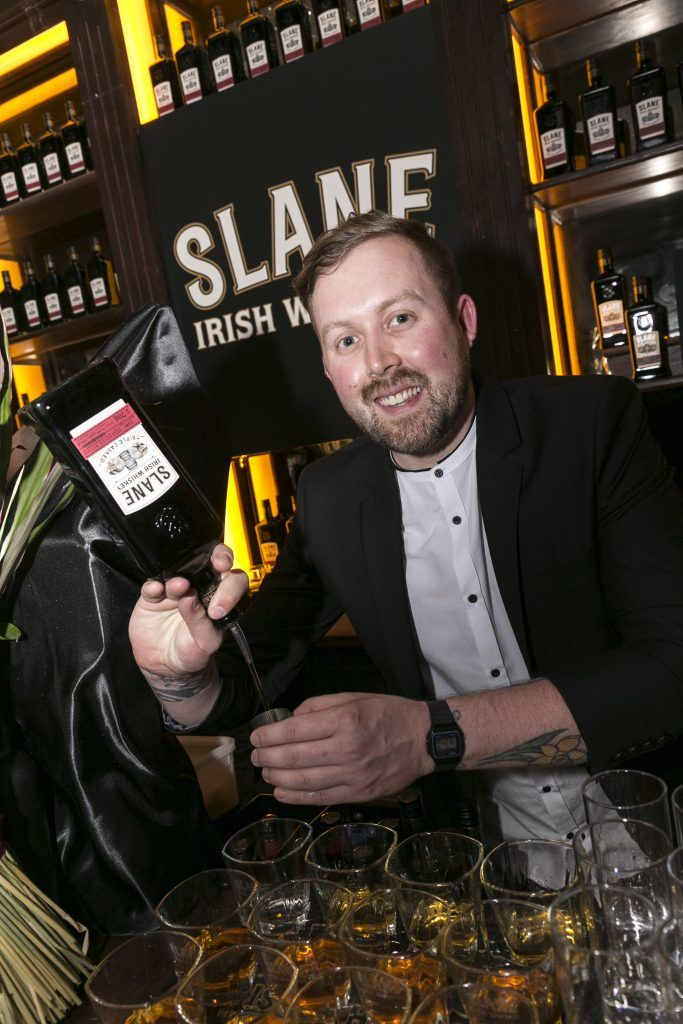 Free repro - Photo - Paul Sherwood Launch of Slane Whiskey at the East Side Tavern, Leeson Street, Dublin. May 2017. Official launch of Slane Irish Whiskey – a new to market premium Irish Whiskey brand, which will be distilled on the grounds of Slane Castle, Co. Meath Pictured - Will Lynch - Brand Ambassador, pouring Slane Whiskey