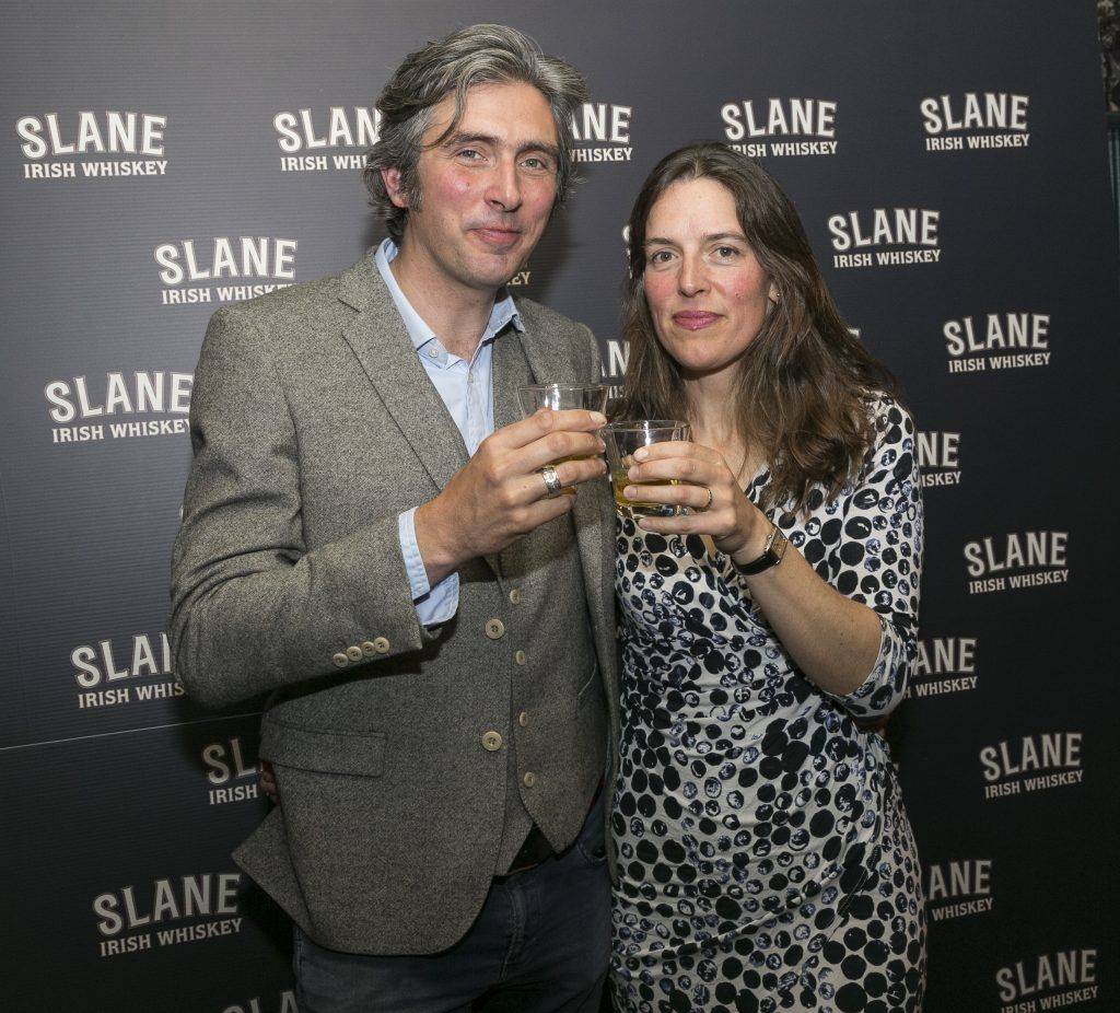 Free repro - Photo - Paul Sherwood Launch of Slane Whiskey at the East Side Tavern, Leeson Street, Dublin. May 2017. Official launch of Slane Irish Whiskey – a new to market premium Irish Whiskey brand, which will be distilled on the grounds of Slane Castle, Co. Meath Pictured - Alex & Carina Conyngham