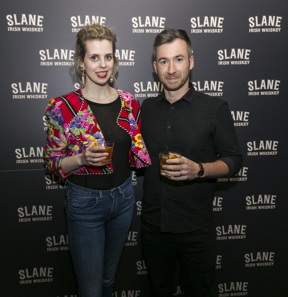 Free repro - Photo - Paul Sherwood Launch of Slane Whiskey at the East Side Tavern, Leeson Street, Dublin. May 2017. Official launch of Slane Irish Whiskey – a new to market premium Irish Whiskey brand, which will be distilled on the grounds of Slane Castle, Co. Meath Pictured - Celina Murphy, Gary Boylan