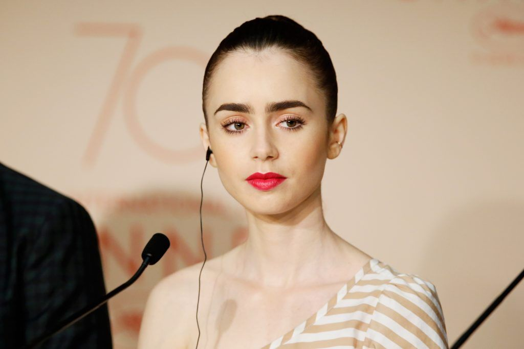 "Actor Lily Collins attends the ""Okja"" press conference during the 70th annual Cannes Film Festival at Palais des Festivals on May 19, 2017 in Cannes, France.  (Photo by Getty Images/Getty Images)"