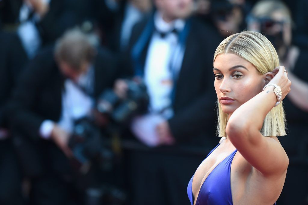 "Hailey Baldwin attends the ""Ismael's Ghosts (Les Fantomes d'Ismael)"" screening and Opening Gala during the 70th annual Cannes Film Festival at Palais des Festivals on May 17, 2017 in Cannes, France.  (Photo by Antony Jones/Getty Images)"