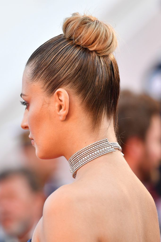 """Sveva Alviti, hair detail, attends the """"Ismael's Ghosts (Les Fantomes d'Ismael)"""" screening and Opening Gala during the 70th annual Cannes Film Festival at Palais des Festivals on May 17, 2017 in Cannes, France.  (Photo by Pascal Le Segretain/Getty Images)"""