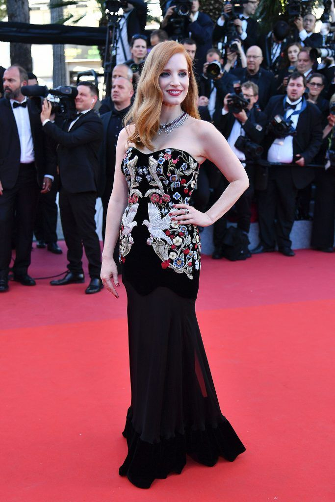 Jessica Chastain smiles as she arrives on May 17, 2017 for the screening of the film 'Ismael's Ghosts' (Les Fantomes d'Ismael) during the opening ceremony of the 70th edition of the Cannes Film Festival in Cannes, southern France. (Photo  ALBERTO PIZZOLI/AFP/Getty Images)