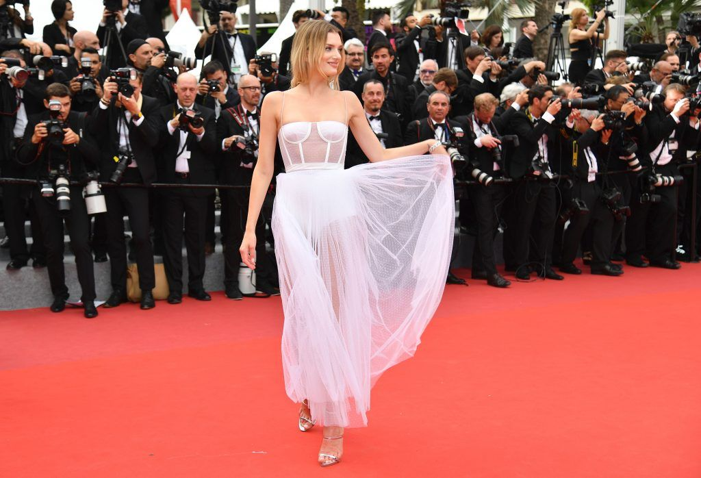British model Lily Donaldson poses as she arrives on May 18, 2017 for the screening of the film 'Loveless' (Nelyubov) at the 70th edition of the Cannes Film Festival in Cannes, southern France. (Photo  ALBERTO PIZZOLI/AFP/Getty Images)