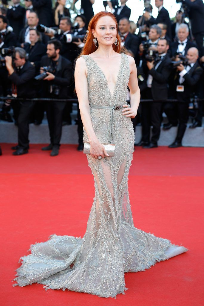 """Model Barbara Meier attends the """"Ismael's Ghosts (Les Fantomes d'Ismael)"""" screening and Opening Gala during the 70th annual Cannes Film Festival at Palais des Festivals on May 17, 2017 in Cannes, France.  (Photo by Andreas Rentz/Getty Images)"""