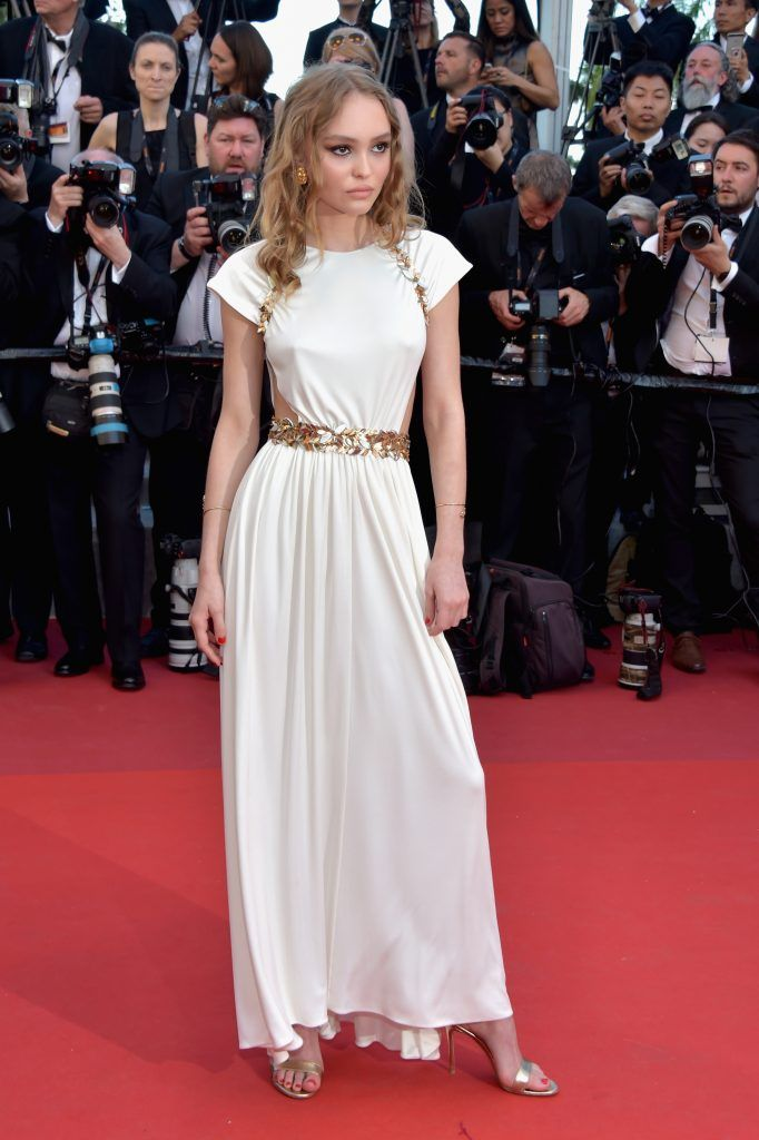 """Lily-Rose Depp attends the """"Ismael's Ghosts (Les Fantomes d'Ismael)"""" screening and Opening Gala during the 70th annual Cannes Film Festival at Palais des Festivals on May 17, 2017 in Cannes, France.  (Photo by Pascal Le Segretain/Getty Images)"""