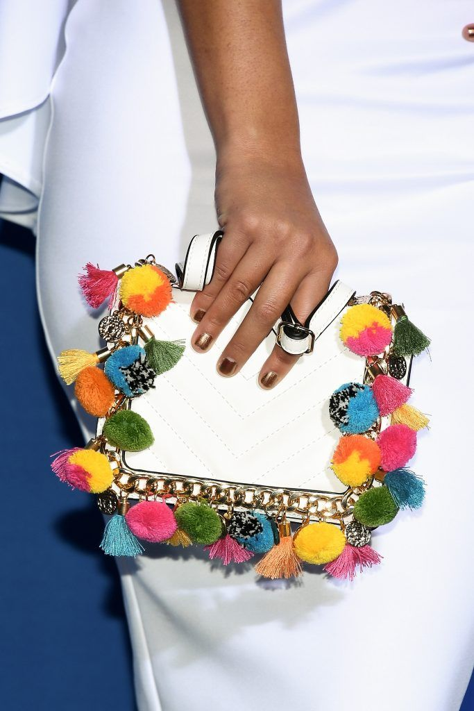 Carolina Miranda, clutch detail, attends the 2017 NBCUniversal Upfront at Radio City Music Hall on May 15, 2017 in New York City.  (Photo by Dia Dipasupil/Getty Images)