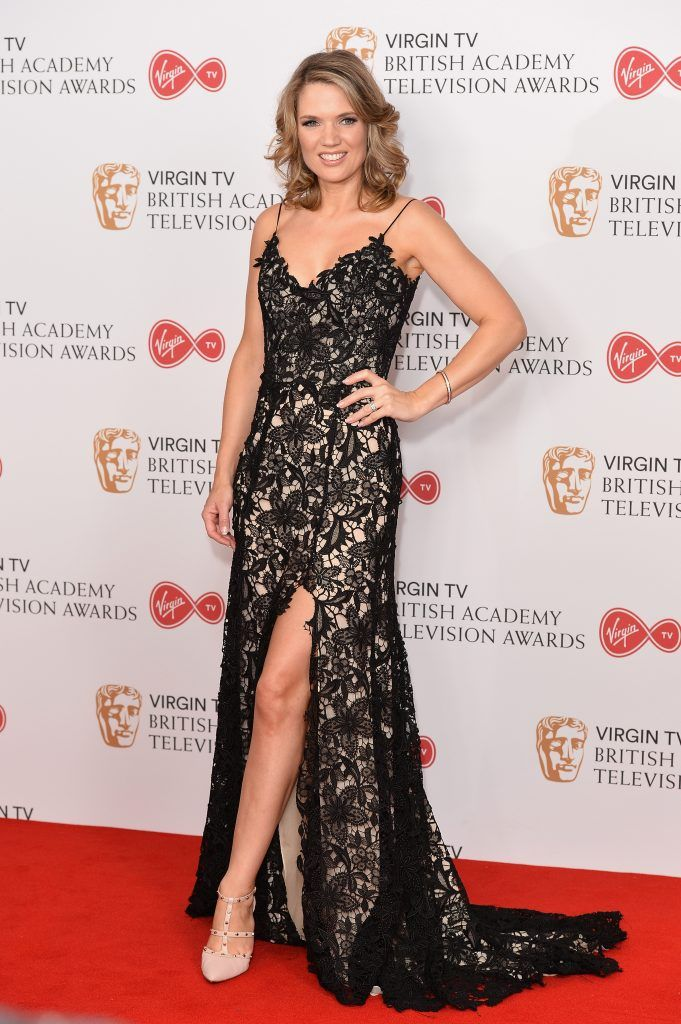 Charlotte Hawkins poses in the Winner's room at the Virgin TV BAFTA Television Awards at The Royal Festival Hall on May 14, 2017 in London, England.  (Photo by Jeff Spicer/Getty Images)