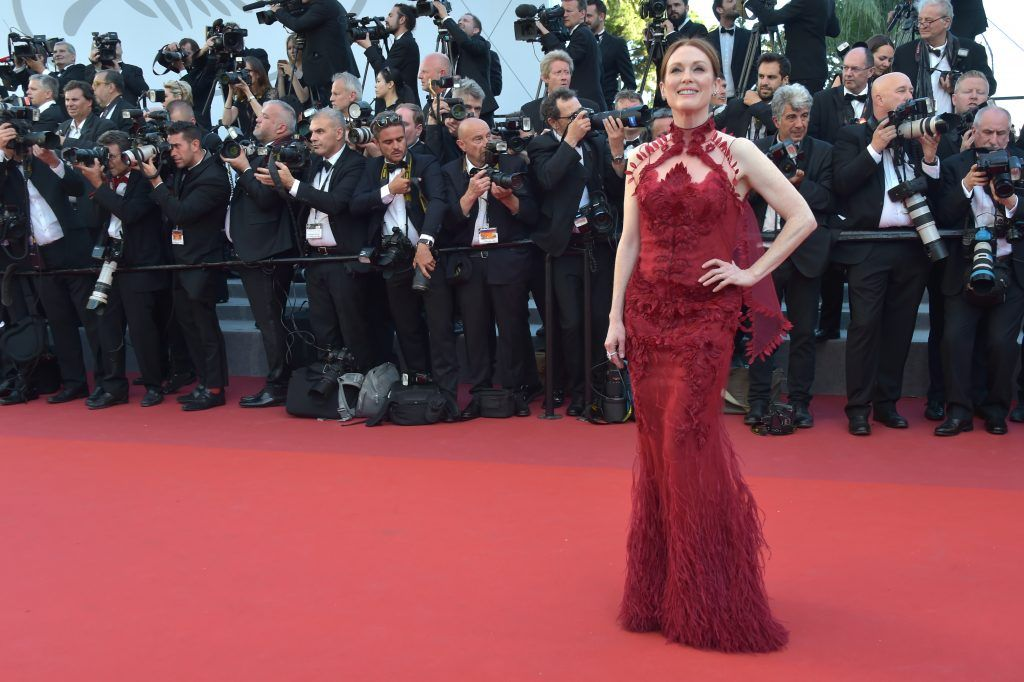 """Julianne Moore attends the """"Ismael's Ghosts (Les Fantomes d'Ismael)"""" screening and Opening Gala during the 70th annual Cannes Film Festival at Palais des Festivals on May 17, 2017 in Cannes, France.  (Photo by Pascal Le Segretain/Getty Images)"""
