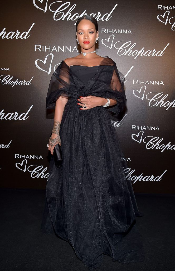 Rihanna attends the Chopard dinner in honour of her and the Rihanna X Chopard Collection during the 70th annual Cannes Film Festival on the Chopard Rooftop on May 18, 2017 in Cannes, France.  (Photo by Pascal Le Segretain/Getty Images)