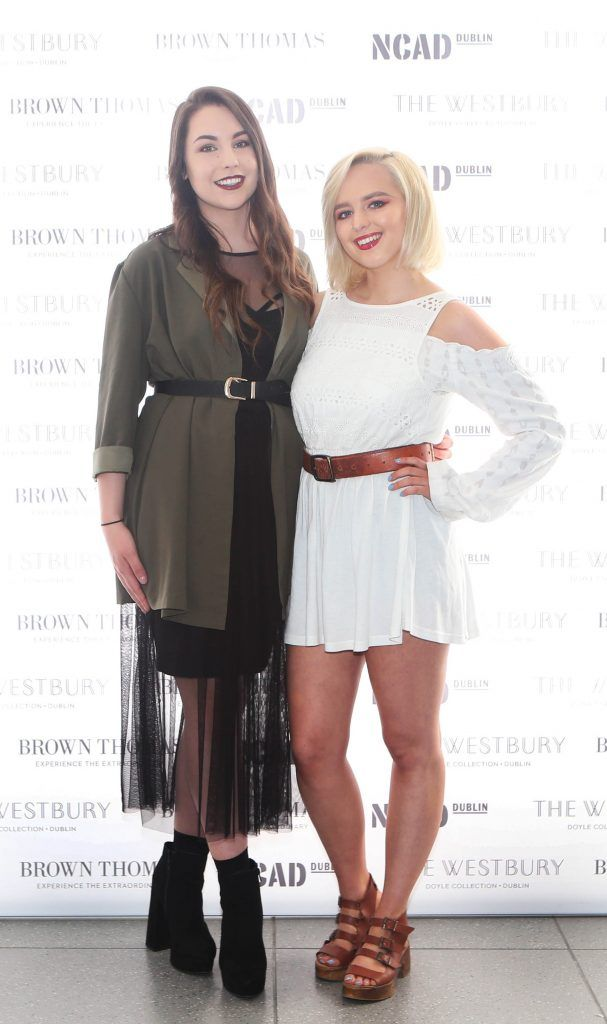 Jennifer Reid and Jasmine Stanbridge pictured at the National College of Arts and Design (NCAD)'s annual fashion show. Photo: Leon Farrell/Photocall Ireland