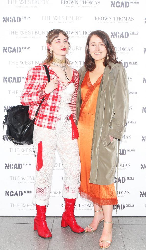 Caoimhe Hill and Angela Maye pictured at the National College of Arts and Design (NCAD)'s annual fashion show. Photo: Leon Farrell/Photocall Ireland