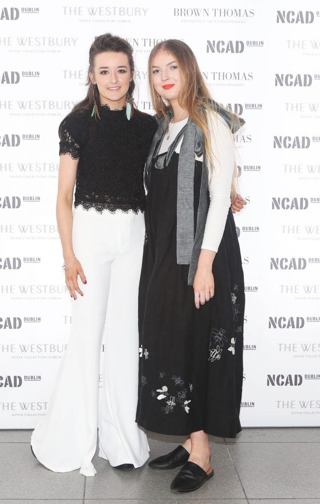 Sive Mishka Rooney and Sorcha Rigney  pictured at the National College of Arts and Design (NCAD)'s annual fashion show. Photo: Leon Farrell/Photocall Ireland