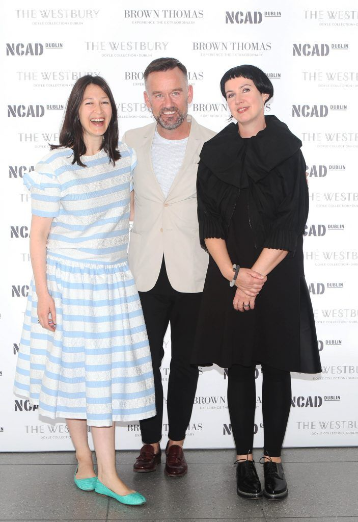 Natalie B Coleman, Brendan Courtney and Angela O Kelly   pictured at the National College of Arts and Design (NCAD)'s annual fashion show. Photo: Leon Farrell/Photocall Ireland