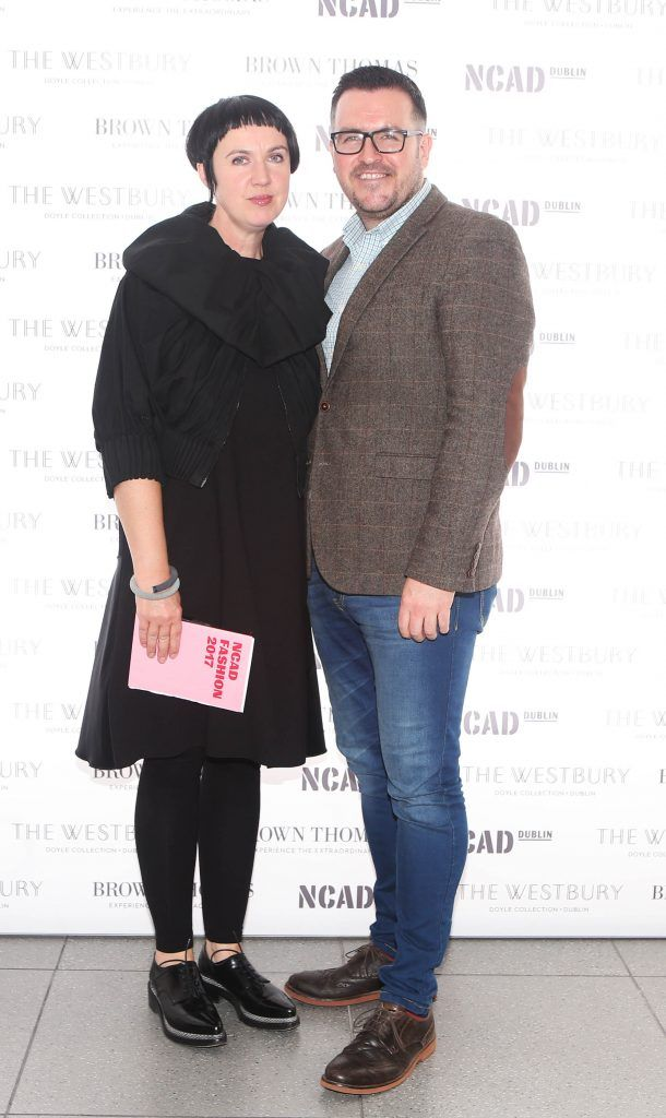 Angela O Kelly  and Clyde Kelly pictured at the National College of Arts and Design (NCAD)'s annual fashion show. Photo: Leon Farrell/Photocall Ireland