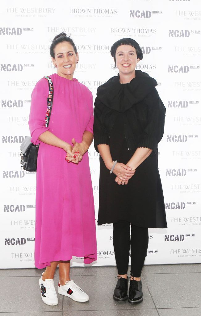 Shelly Corkery and Angela O Kelly pictured at the National College of Arts and Design (NCAD)'s annual fashion show. Photo: Leon Farrell/Photocall Ireland