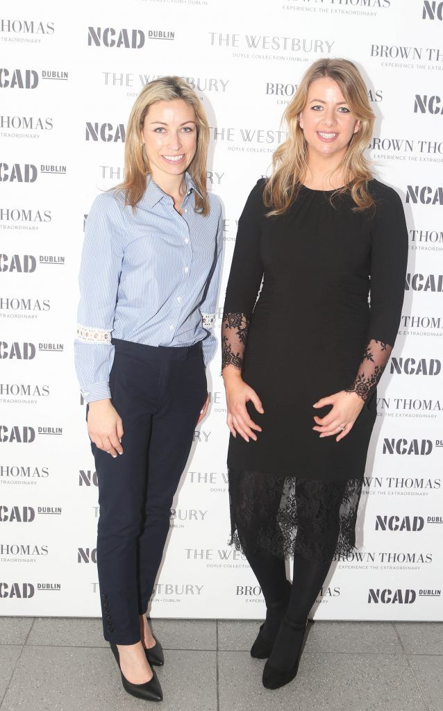 Sophie Governey and Aisling Cooney  pictured at the National College of Arts and Design (NCAD)'s annual fashion show. Photo: Leon Farrell/Photocall Ireland
