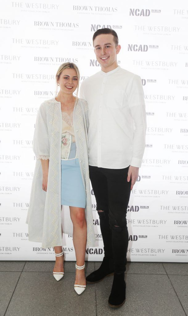 Laoise Carey and Colin Burke pictured after the National College of Arts and Design (NCAD)'s annual fashion show. Photo: Leon Farrell/Photocall Ireland