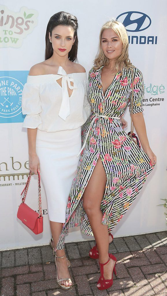 Models Aoife McGrane and Natalia Petric Fiona Fitzsimons and Darren Warren at the June Party in the Park at the Phoenix Park Polo Club to raise funds for the Irish Motor Neurone Disease Association. Picture by Brian McEvoy