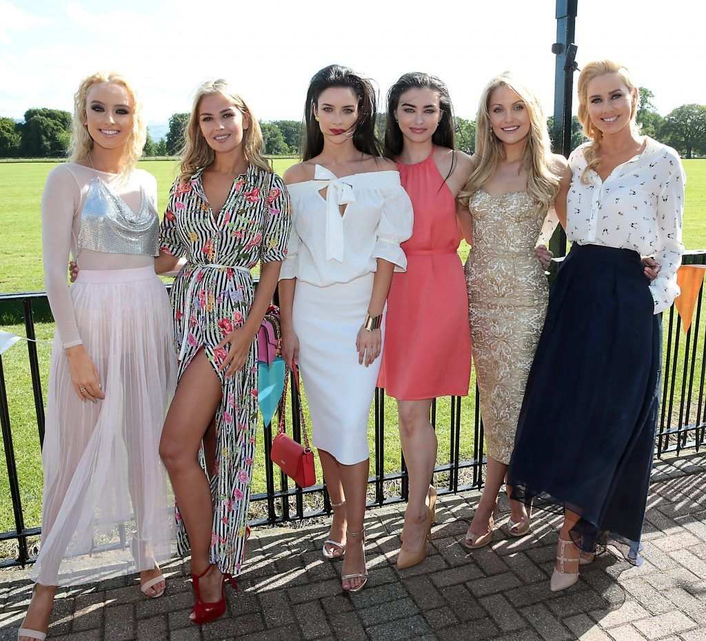 Models Hannah Corcoran, Natalia Petric, Aoife McGrane, Sarah Tansey, Kerri Nicole Blanc and Ursula Kelly  Fiona Fitzsimons and Darren Warren at the June Party in the Park at the Phoenix Park Polo Club to raise funds for the Irish Motor Neurone Disease Association. Picture by Brian McEvoy