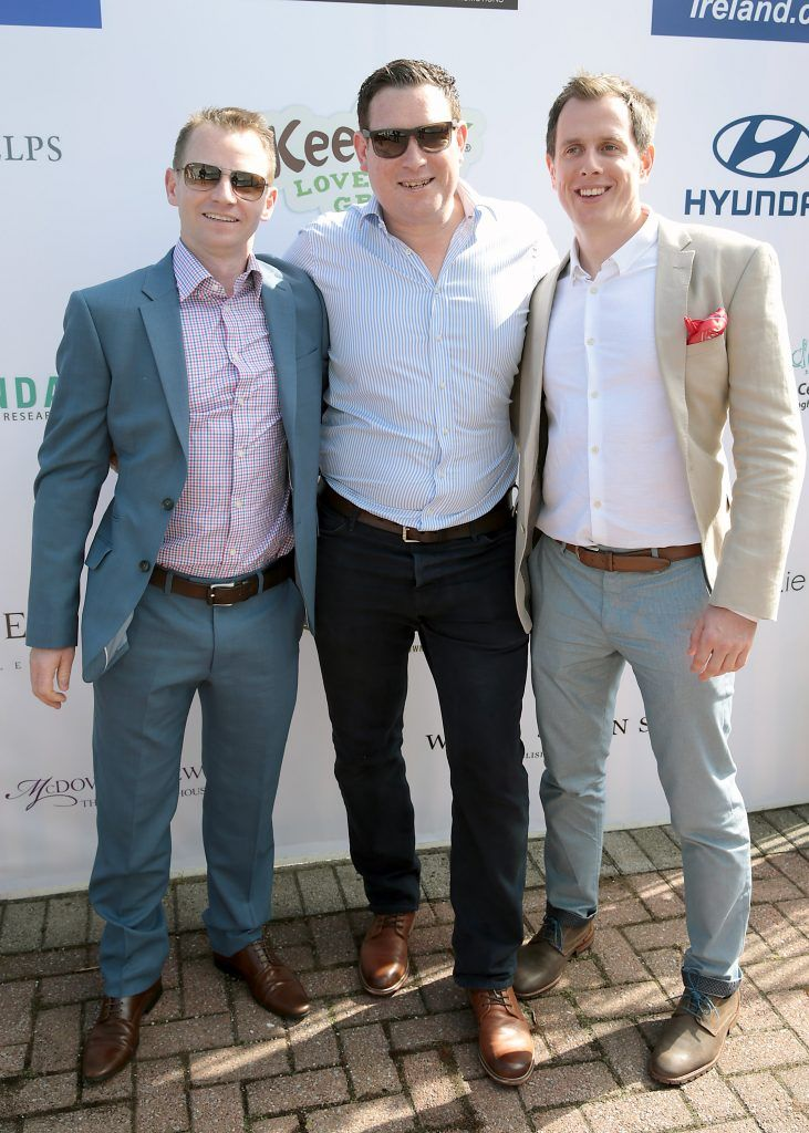 Brian Fogarty, Oisin Carpenter and Fearghal Mulvihill Fiona Fitzsimons and Darren Warren at the June Party in the Park at the Phoenix Park Polo Club to raise funds for the Irish Motor Neurone Disease Association. Picture by Brian McEvoy