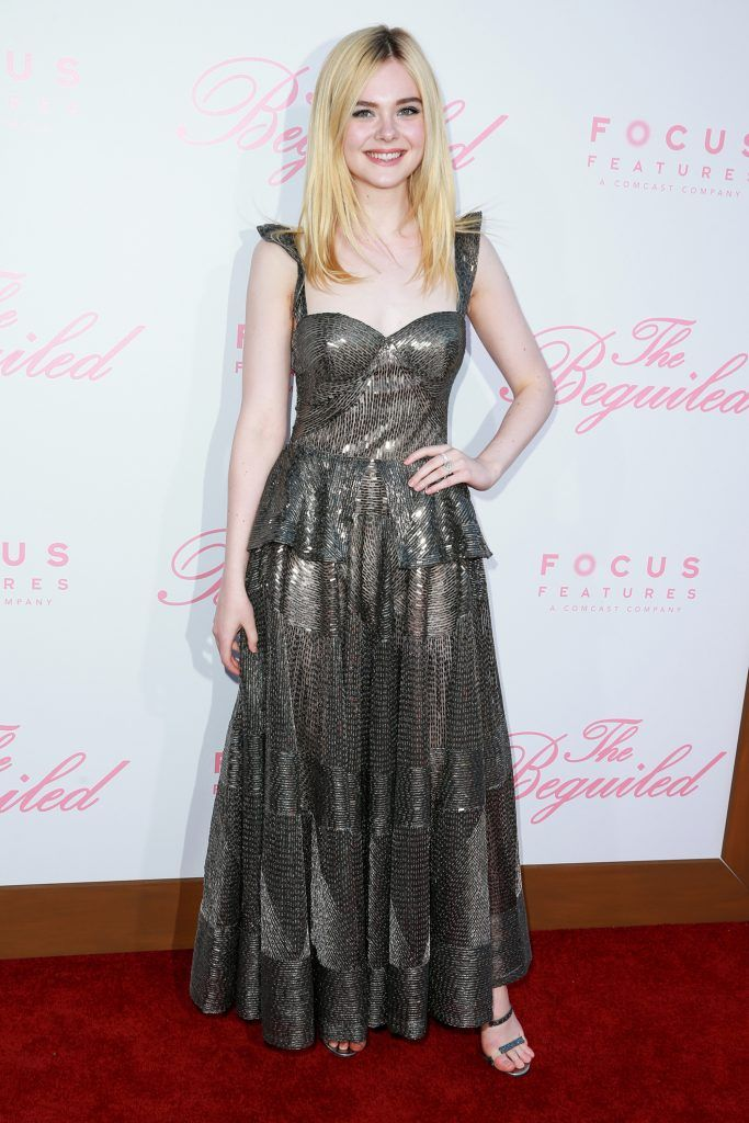 "Actor Elle Fanning attends the premiere of Focus Features' ""The Beguiled"" at Directors Guild Of America on June 12, 2017 in Los Angeles, California.  (Photo by Rich Fury/Getty Images)"
