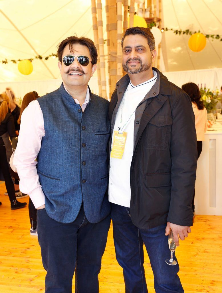 Pictured are (LtoR) Asheesh Dewan and Sunil Ghai at Taste 2017 taking place in the Iveagh Gardens, Dublin. The event features the best of the Irish food and drink scene over four days, with more than 35,000 people attending. Photo: Sasko Lazarov/Photocall Ireland