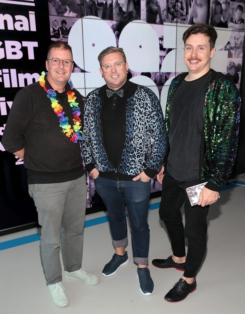 John Butler, Noel Sutton and Michael O Connell at the GAZE LGBT Film Festival special 25th anniversary programme launch hosted by lead sponsor Accenture at The Dock, Dublin. Picture by Brian McEvoy