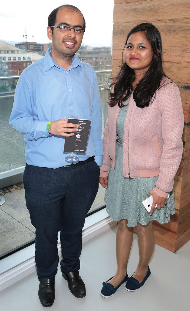 Nirmaan Kathuria and Sufiya Karin at the GAZE LGBT Film Festival special 25th anniversary programme launch hosted by lead sponsor Accenture at The Dock, Dublin. Picture by Brian McEvoy
