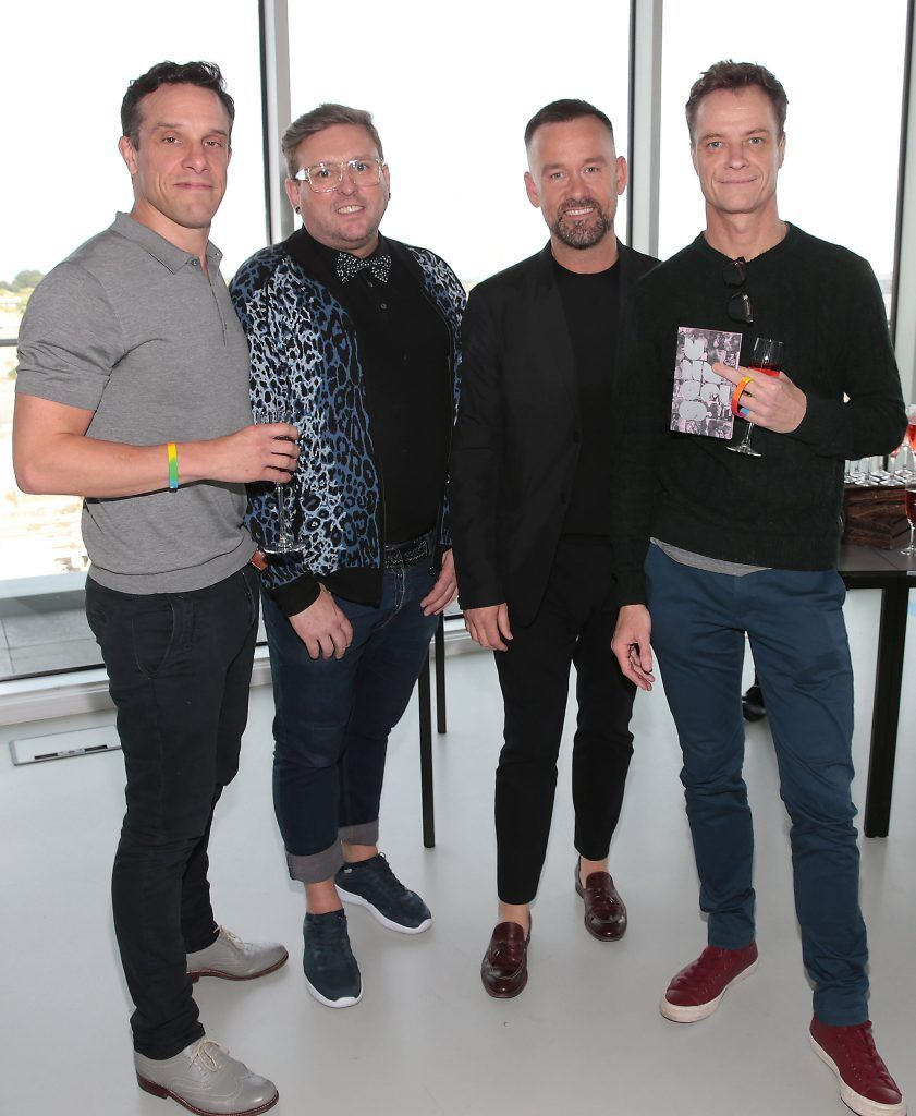 Declan Buckley, Noel Sutton, Brendan Courtney and Rory O Neill at the GAZE LGBT Film Festival special 25th anniversary programme launch hosted by lead sponsor Accenture at The Dock, Dublin. Picture by Brian McEvoy