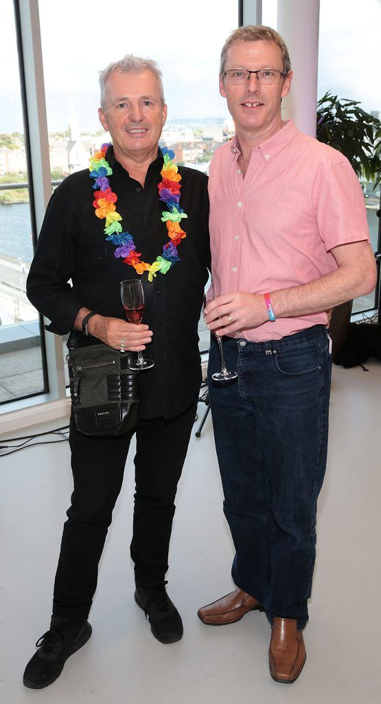 Eddie McCann and Paul Higgins at the GAZE LGBT Film Festival special 25th anniversary programme launch hosted by lead sponsor Accenture at The Dock, Dublin. Picture by Brian McEvoy