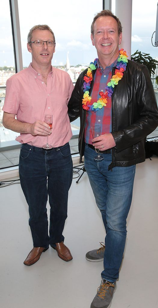Paul Higgins and Michael Lucey at the GAZE LGBT Film Festival special 25th anniversary programme launch hosted by lead sponsor Accenture at The Dock, Dublin. Picture by Brian McEvoy