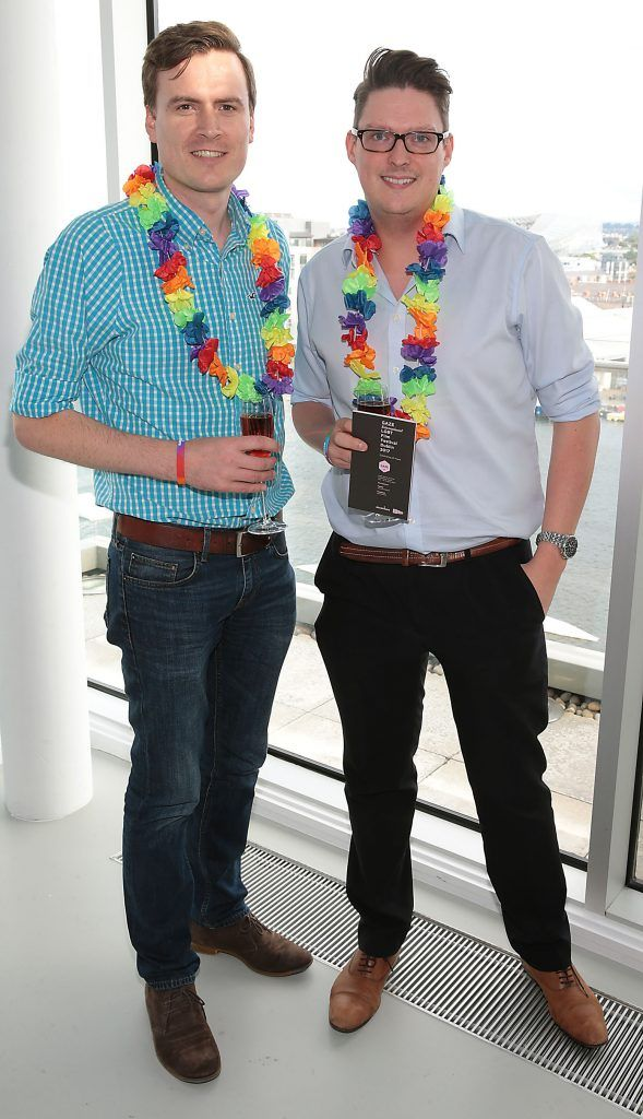 David Doody and Stephen Murphy at the GAZE LGBT Film Festival special 25th anniversary programme launch hosted by lead sponsor Accenture at The Dock, Dublin. Picture by Brian McEvoy