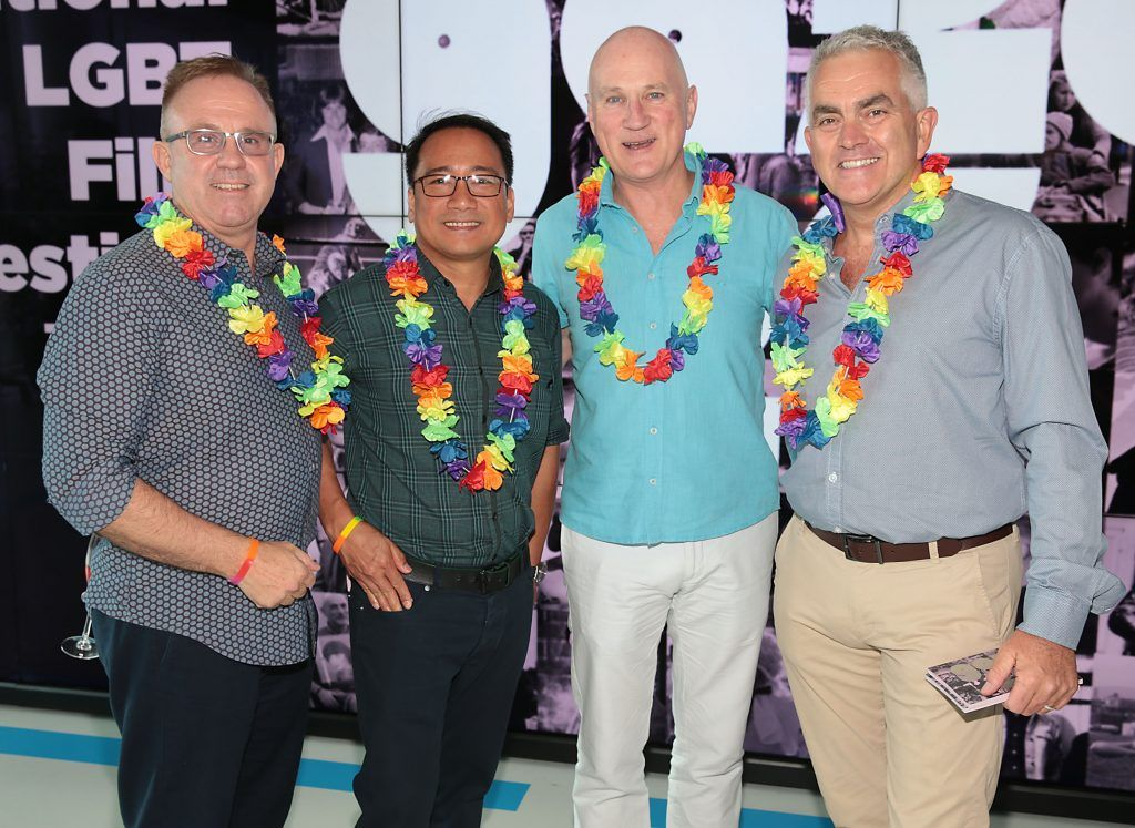 Hiugo Lambrechds, Manuel Lanbiche, Bryan Nolan and Paul Hackett at the GAZE LGBT Film Festival special 25th anniversary programme launch hosted by lead sponsor Accenture at The Dock, Dublin. Picture by Brian McEvoy