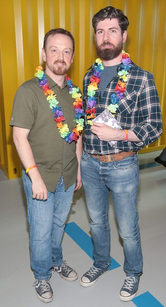 Simon Prunty and Christophe Gaillard at the GAZE LGBT Film Festival special 25th anniversary programme launch hosted by lead sponsor Accenture at The Dock, Dublin. Picture by Brian McEvoy