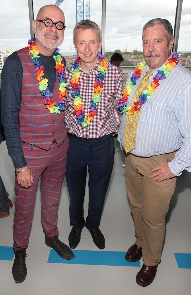 Ciaran McKinney,David Roche and Bill Foley at the GAZE LGBT Film Festival special 25th anniversary programme launch hosted by lead sponsor Accenture at The Dock, Dublin. Picture by Brian McEvoy