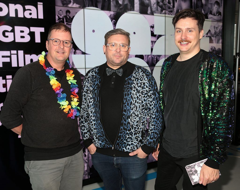 John Butler, Handsome Devil filmmaker Noel Sutton, GAZE Festival Director and Michael O'Connell, GAZE Board Chairperson at the GAZE LGBT Film Festival special 25th anniversary programme launch hosted by lead sponsor Accenture at The Dock, Dublin. Picture by Brian McEvoy