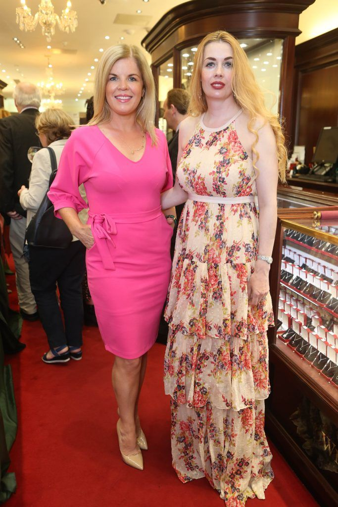 Marietta Doran and Anne Walsh pictured in Weir & Sons on Grafton Street at the social launch of this year's Dublin Horse Show which takes place in the RDS from August 9 - 13th. Photo: Leon Farrell / Photocall Ireland