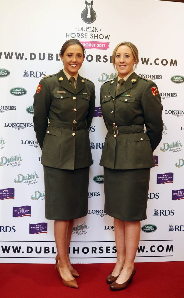 Lt. Jennifer Larken and Lt. Charlene Keogh pictured in Weir & Sons on Grafton Street at the social launch of this year's Dublin Horse Show which takes place in the RDS from August 9 - 13th. Photo: Leon Farrell / Photocall Ireland