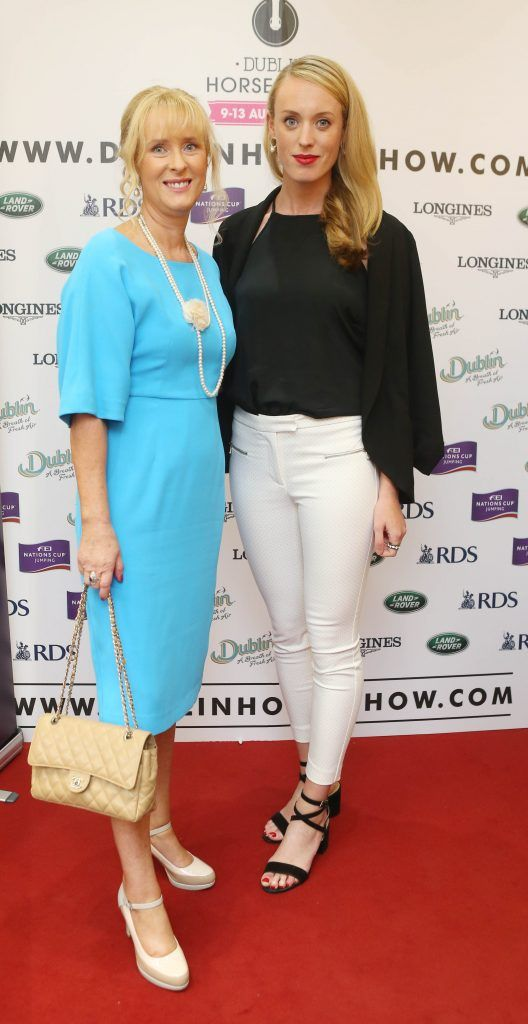Claire Murphy and Aoife Sheehy pictured in Weir & Sons on Grafton Street at the social launch of this year's Dublin Horse Show which takes place in the RDS from August 9 - 13th. Photo: Leon Farrell / Photocall Ireland