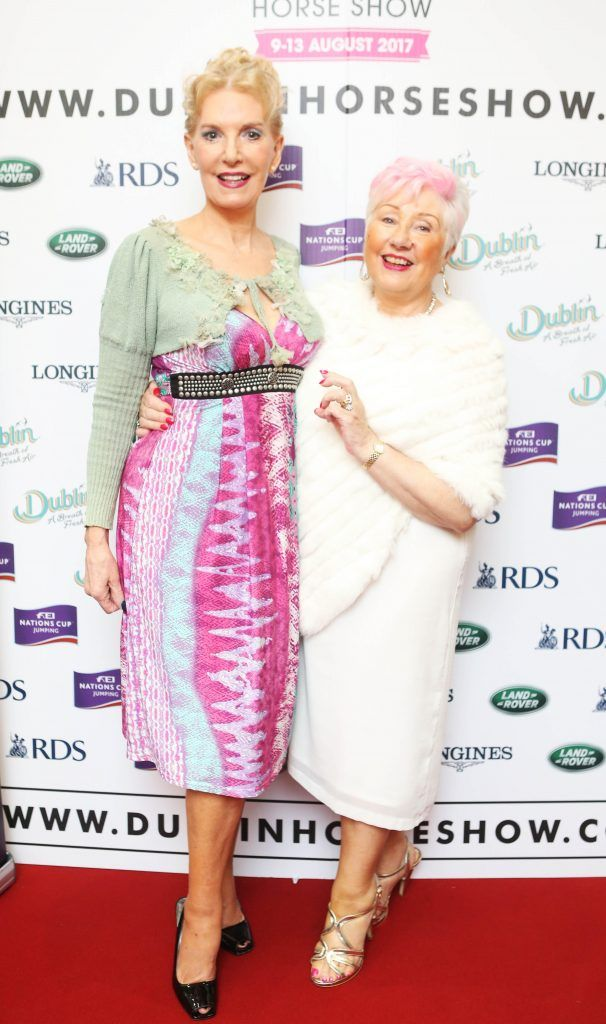 Ann Boylen and Claire Casey pictured in Weir & Sons on Grafton Street at the social launch of this year's Dublin Horse Show which takes place in the RDS from August 9 - 13th. Photo: Leon Farrell / Photocall Ireland