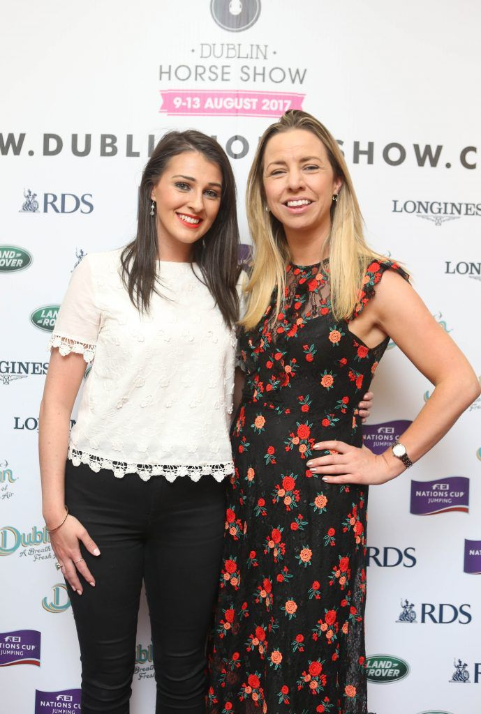 Ally McKeever and Lisa Freeman pictured in Weir & Sons on Grafton Street at the social launch of this year's Dublin Horse Show which takes place in the RDS from August 9 - 13th. Photo: Leon Farrell / Photocall Ireland