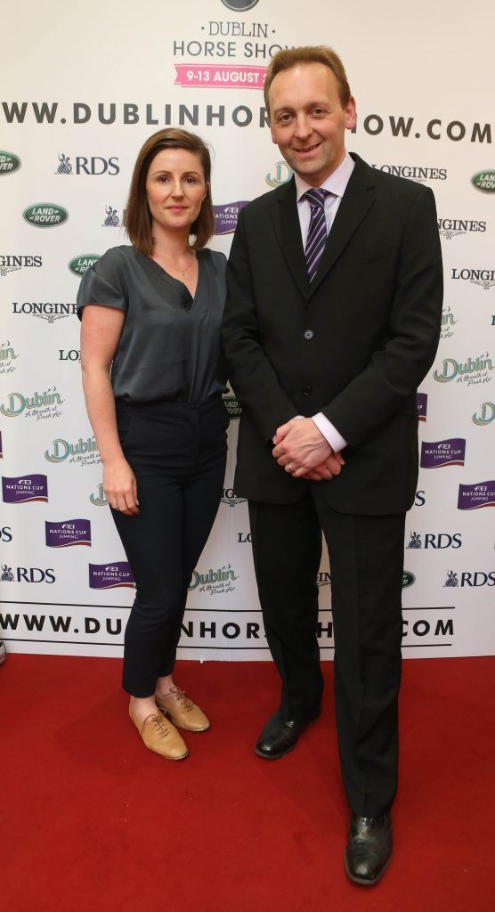 Gillian Duke and Shane McDonald pictured in Weir & Sons on Grafton Street at the social launch of this year's Dublin Horse Show which takes place in the RDS from August 9 - 13th. Photo: Leon Farrell / Photocall Ireland