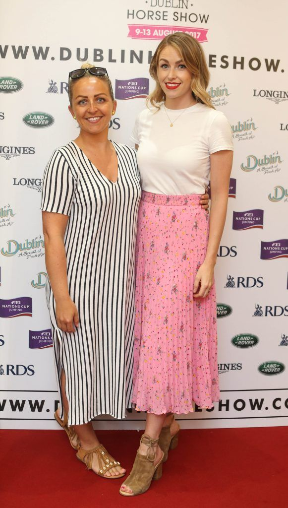 Aislinn O'Toole and Lia Stokes pictured in Weir & Sons on Grafton Street at the social launch of this year's Dublin Horse Show which takes place in the RDS from August 9 - 13th. Photo: Leon Farrell / Photocall Ireland