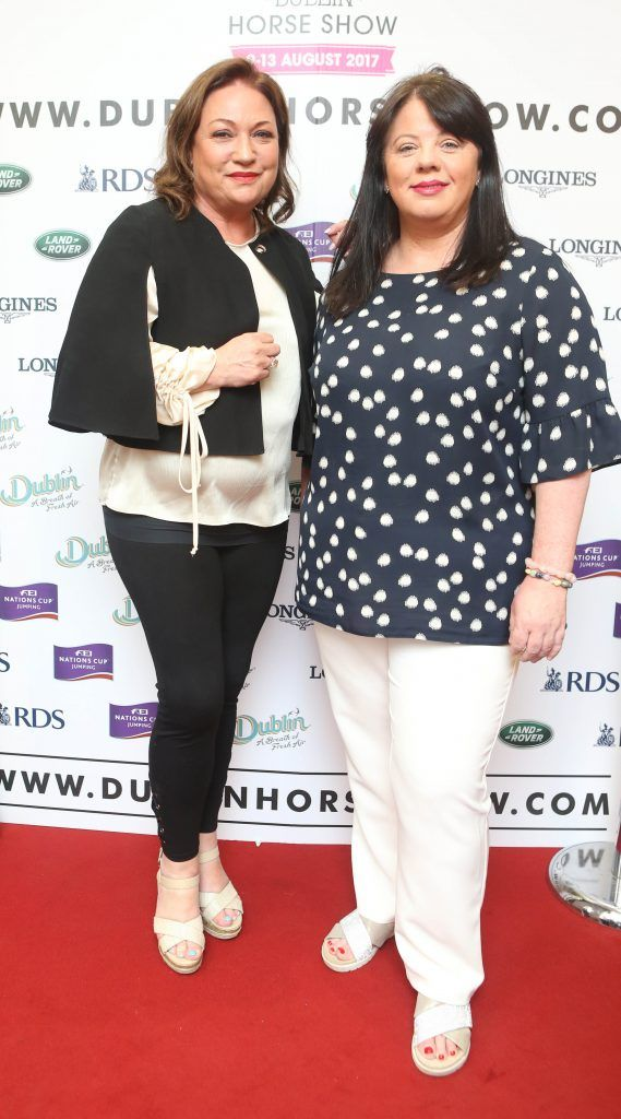 Norah Casey, Michelle Spillane pictured in Weir & Sons on Grafton Street at the social launch of this year's Dublin Horse Show which takes place in the RDS from August 9 - 13th. Photo: Leon Farrell / Photocall Ireland