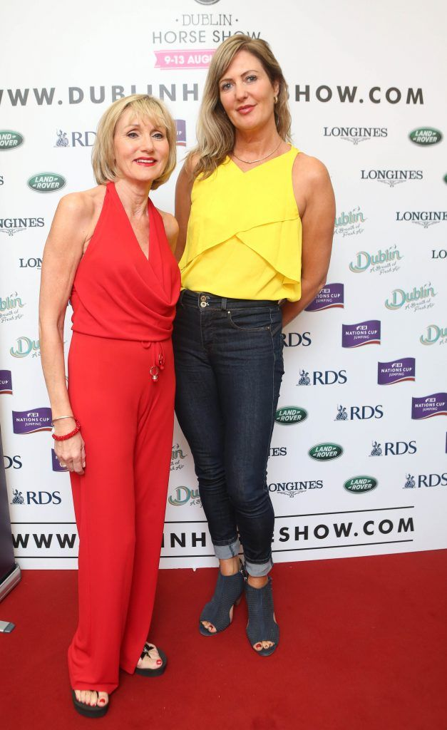 Annie Gribbin and Jacinta Burke pictured in Weir & Sons on Grafton Street at the social launch of this year's Dublin Horse Show which takes place in the RDS from August 9 - 13th. Photo: Leon Farrell / Photocall Ireland
