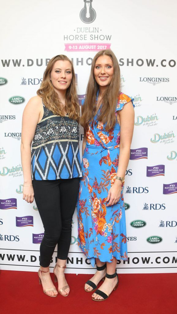 Aine Kelly and Beth Gibbons pictured in Weir & Sons on Grafton Street at the social launch of this year's Dublin Horse Show which takes place in the RDS from August 9 - 13th. Photo: Leon Farrell / Photocall Ireland