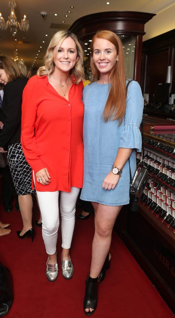 Cassie Stokes and Judith Fahey pictured in Weir & Sons on Grafton Street at the social launch of this year's Dublin Horse Show which takes place in the RDS from August 9 - 13th. Photo: Leon Farrell / Photocall Ireland