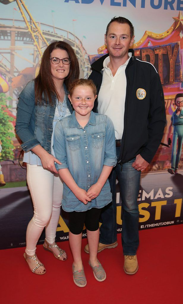 Julia Morrissey, Lucey Morrissey and Sandra Morrissey at the special family preview screening of The Nut Job 2 at The Odeon Cinema in Point Village, Dublin. Picture by Brian McEvoy